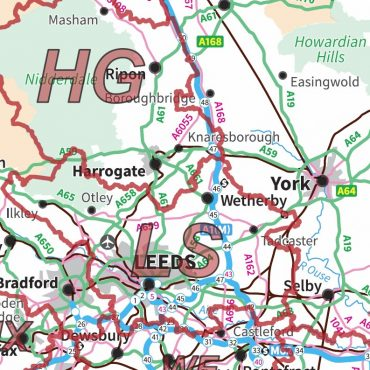 Postcode Area Map 3 - Northern England - Colour - Detail