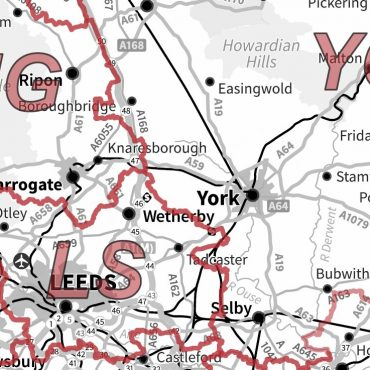 Postcode Area Map 3 - Northern England - Greyscale - Detail