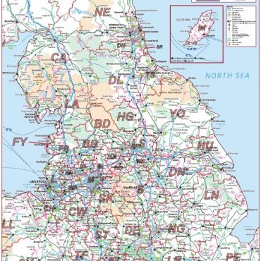 Postcode Area Map 3 - Northern England - Colour - Overview