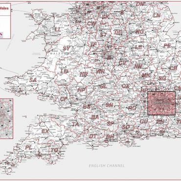 Postcode Area Map 4 - Southern England and Wales - Greyscale - Overview