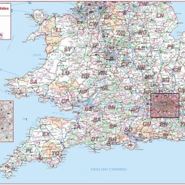 Postcode Area Map 4 - Southern England and Wales - Colour - Overview