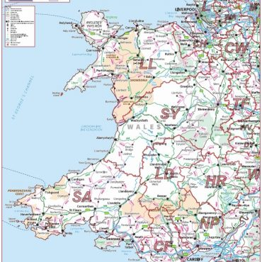Postcode Area Map 5 - Wales - Colour - Overview