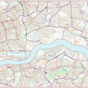 Postcode City Street Map - East London - Colour - Overview