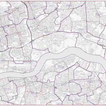 Postcode City Street Map - East London - Greyscale - Overview