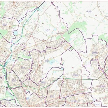 Postcode City Street Map - North East London - Colour - Overview
