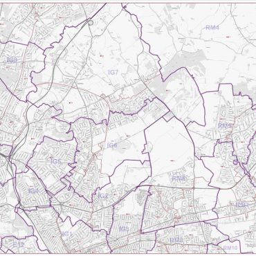Postcode City Street Map - North East London - Greyscale - Overview