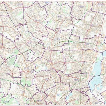 Postcode City Street Map - North London - Colour - Overview