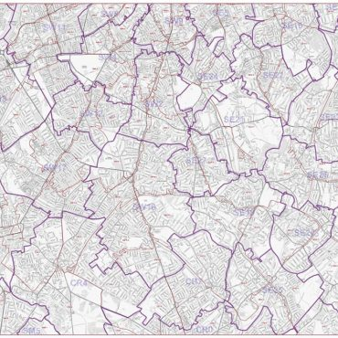 Postcode City Street Map - South London - Greyscale - Overview