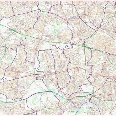 Postcode City Street Map - West London - Colour - Overview