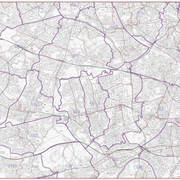 Postcode City Street Map - West London - Greyscale - Overview