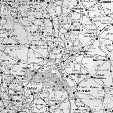 Relief Map 1 - Full UK with Transport Links - Greyscale- Detail