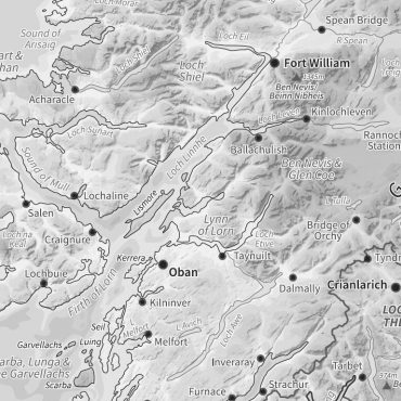 Relief Map 2 - Scotland - Greyscale - Detail