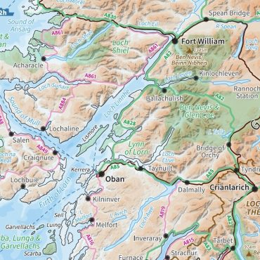 Relief Map 2 with Transport Links - Scotland - Colour - Detail