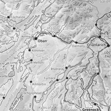 Relief Map 2 with Transport Links - Scotland - Greyscale - Detail