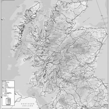 Relief Map 2 with Transport Links - Scotland - Greyscale - Overview