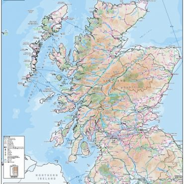 Relief Map 2 with Transport Links - Scotland - Colour - Overview
