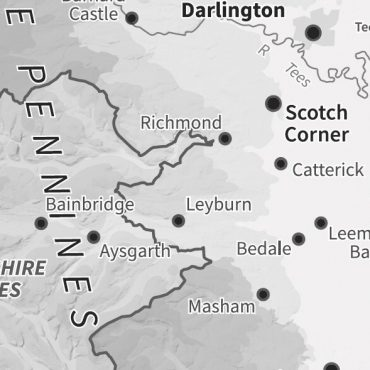 Relief Map 3 - Northern England - Greyscale - Detail