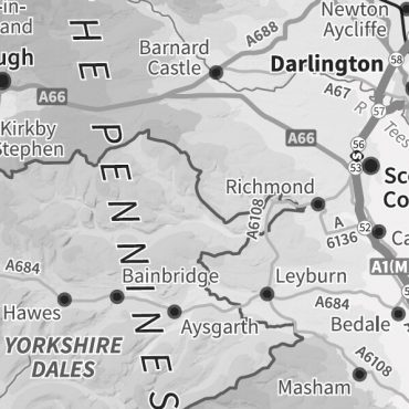 Relief Map 3 with Transport Links - Northern England - Greyscale - Detail