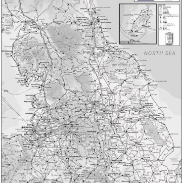 Relief Map 3 with Transport Links - Northern England - Greyscale - Overview
