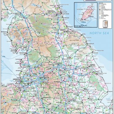 Relief Map 3 with Transport Links - Northern England - Colour - Overview
