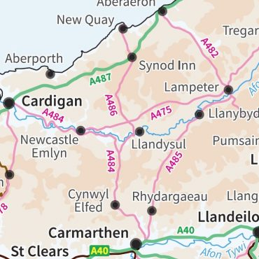 Relief Map 5 with Transport Links - Wales - Colour - Detail