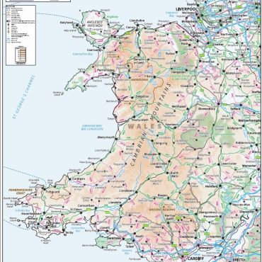 Relief Map 5 with Transport Links - Wales - Colour - Overview