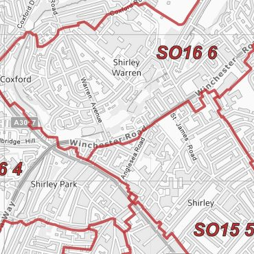 Postcode City Sector Map - St Albans - Greyscale - Detail