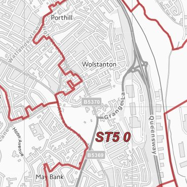 Postcode City Sector Map - Stoke - Greyscale - Detail