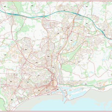 City Street Map - Central Swansea - Colour - Postcode Overview