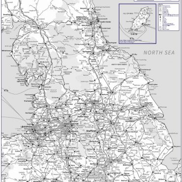 Travel Map 3 - Northern England - Greyscale - Overview