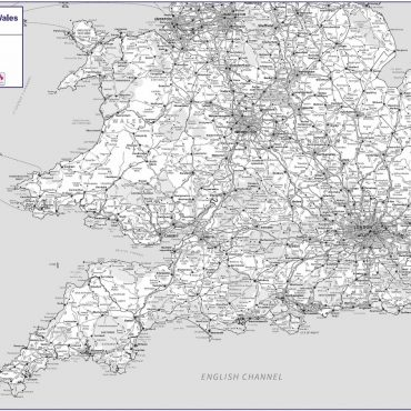 Travel Map 4 - Southern England & Wales - Greyscale - Overview