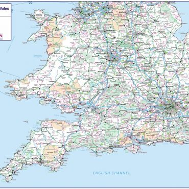 Travel Map 4 - Southern England & Wales - Colour - Overview