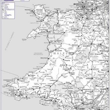 Travel Map 5 - Wales - Greyscale - Overview