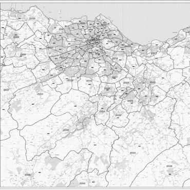 Postcode City Sector XL Map - Greater Edinburgh - Greyscale - Overview
