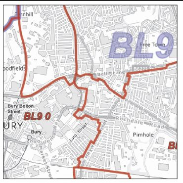 Postcode City Sector XL Map - Greater Glasgow - Greyscale - Detail