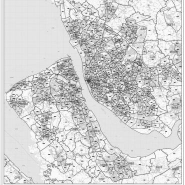 Postcode City Sector XL Map - Liverpool & The Wirral - Greyscale - Overview
