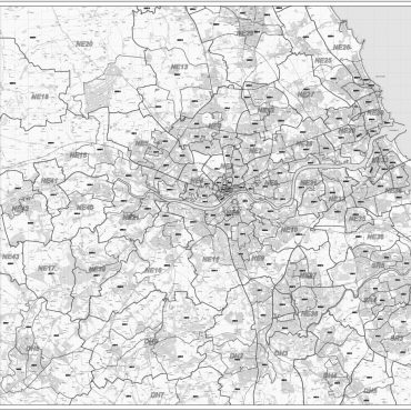 Postcode City Sector XL Map - Newcastle & Sunderland - Greyscale - Overview
