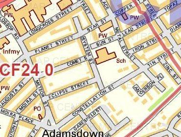 Postcode City Street Map - Bristol - Colour - Detail