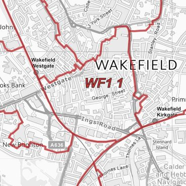 Postcode City Sector Map - Wakefield - Greyscale - Detail