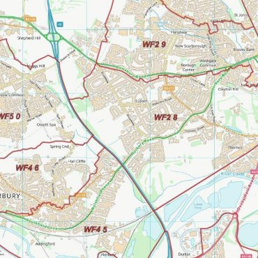 Postcode City Sector Map - Wakefield - Colour - Detail