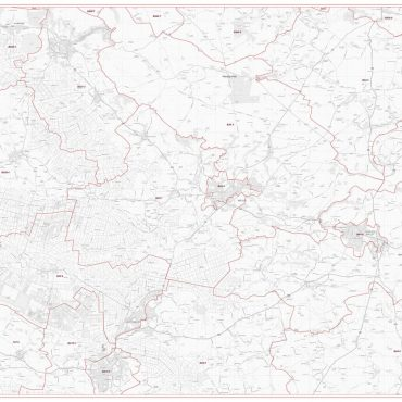 Postcode City Sector Map - Wells - Greyscale- Overview