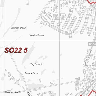 Postcode City Sector Map - Winchester - Greyscale - Detail