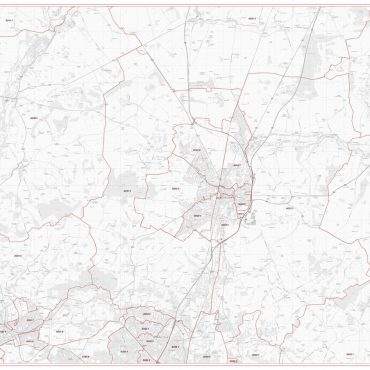Postcode City Sector Map - Winchester - Greyscale - Overview