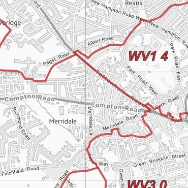 Postcode City Sector Map - Wolverhampton - Greyscale - Detail