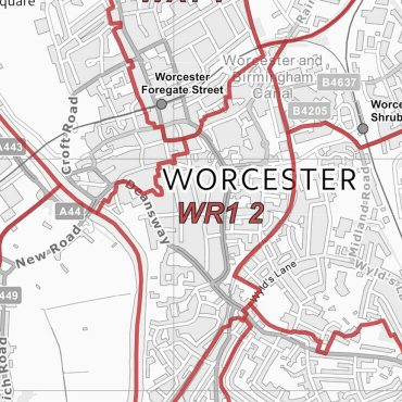 Postcode City Sector Map - Worcester - Greyscale - Detail