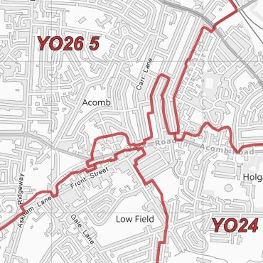 Postcode City Sector Map - York - Greyscale - Detail
