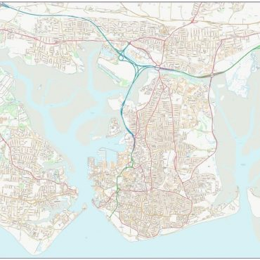 City Street Map - Central Portsmouth - Colour - Overview