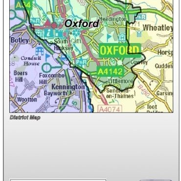 Oxfordshire County Boundary Map - Folded Cover