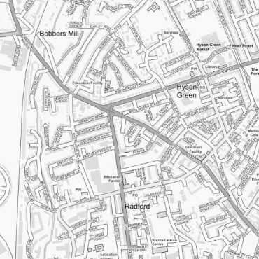 City Street Map - Central Nottingham - Greyscale - Detail