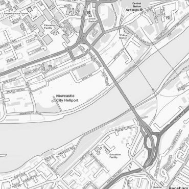 City Street Map - Central Newcastle - Greyscale - Detail
